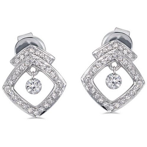 14K White Gold Dashing Diamonds Earrings