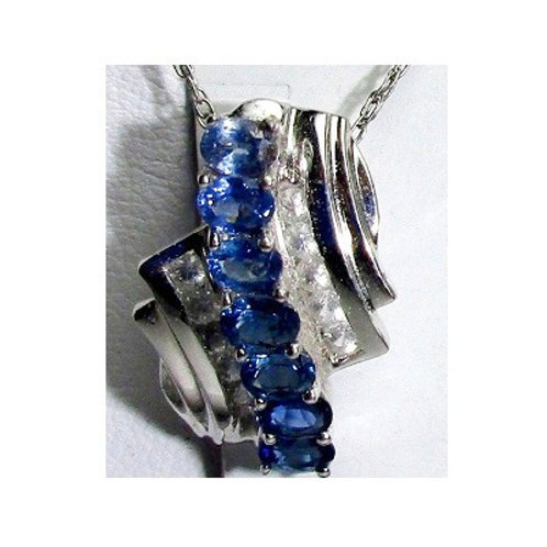 Ombre Blue Sapphire & Diamond Pendant