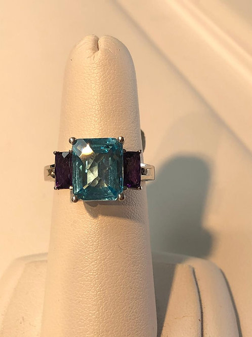 Blue Topaz and Amythest Ring