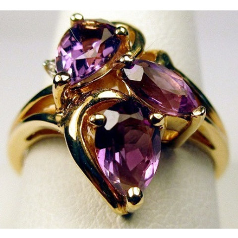Pear & Marquise Shaped Amethyst & Diamond Ring