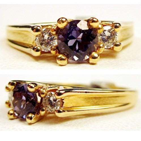 Round Iolite & Diamond 3-Stone Ring