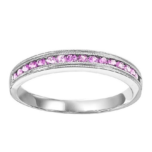 10K gold and set with pink sapphires.