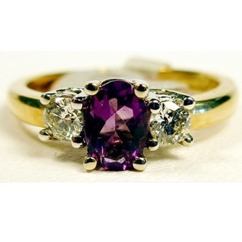 Oval Amethyst & Diamond 3-Stone Ring