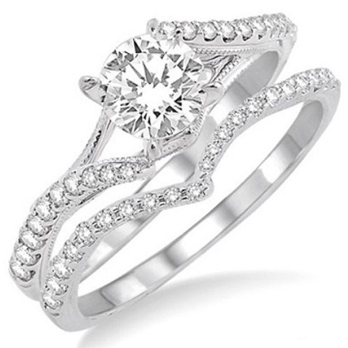 1/2 Ctw Diamond Wedding Set with 3/8 Ctw Round Cut Engagement Ri