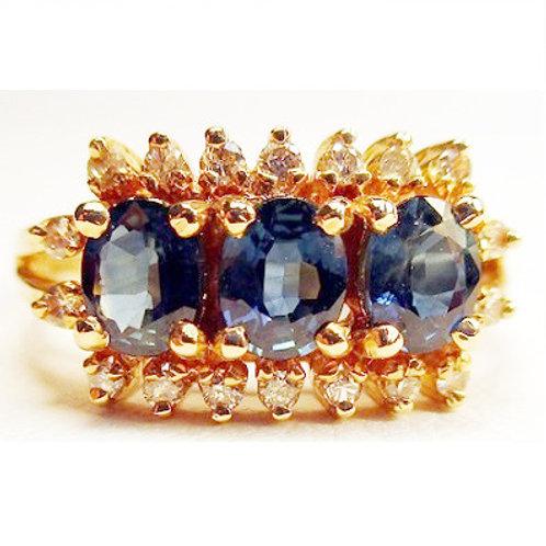 Oval Marquise 3-Stone Blue Sapphire & Diamond Ring