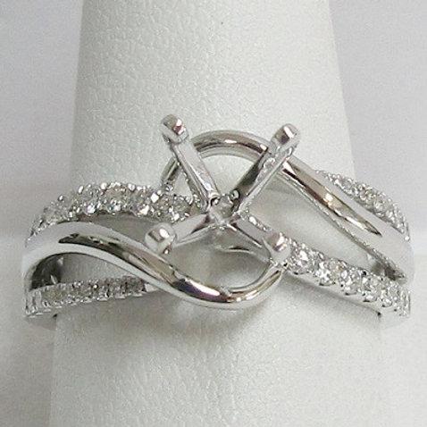 14K White Gold & Diamond Engagement Ring