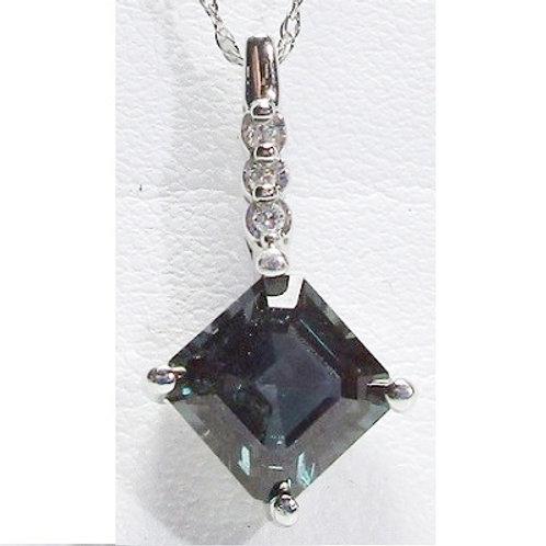 1 5/8 Carat Created Alexandrite & Diamond Pendant