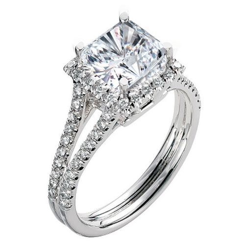 14k White Gold Split Band Princess Halo