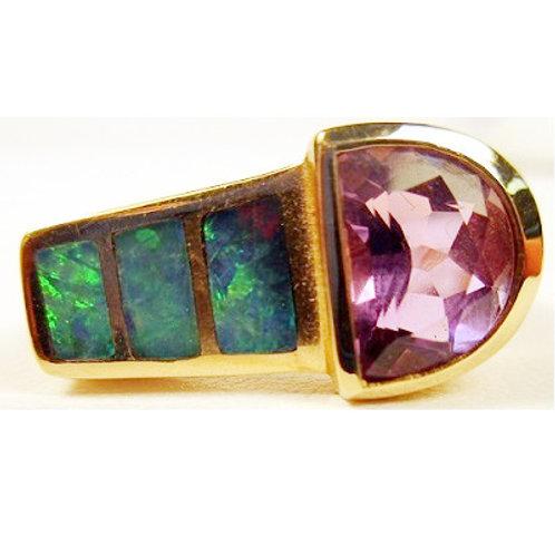 Fancy Cut Amethyst & Black Opal Inlay Ring