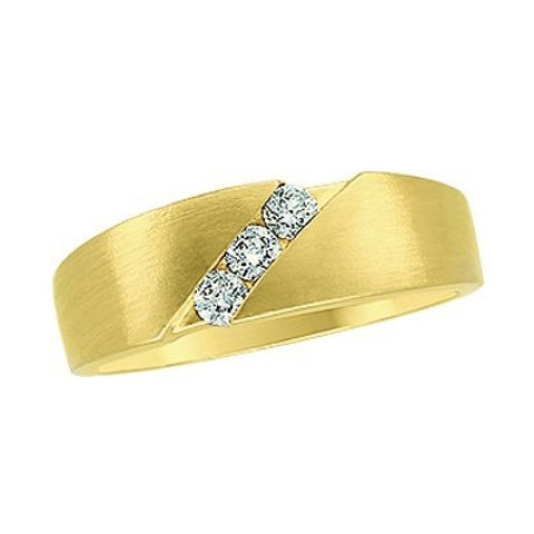 14K Yellow 1/5 CTW Diamond Men's Wedding Band