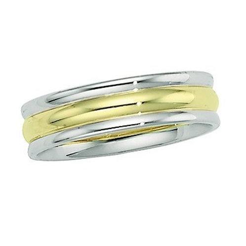 14K Gold Two Tone Men's Wedding Band |