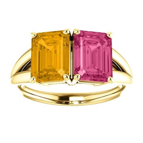 14K Yellow Pink Tourmaline & Citrine Ring