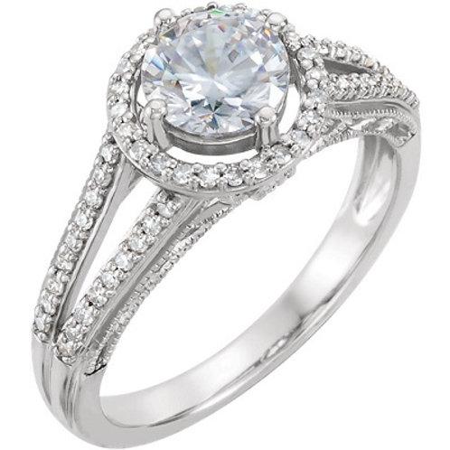 14K White 5.2mm Round 1/4 CTW Diamond Semi-set Engagement Ring