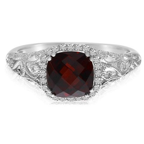 14K White Gold Garnet & Diamond Vintage Halo Engagement Ring