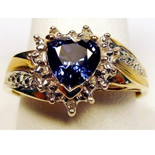 Heart Shaped Created Tanzanite & Diamond Ring