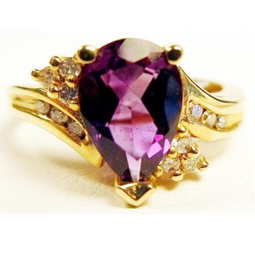 Pear Shaped Amethyst & Diamond Ring