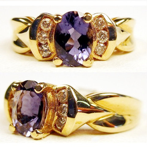 1ct Oval Iolite & Diamond Ring