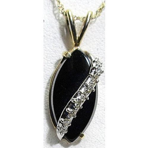 14K Yellow Gold, Black Onyx & Diamond Pendant