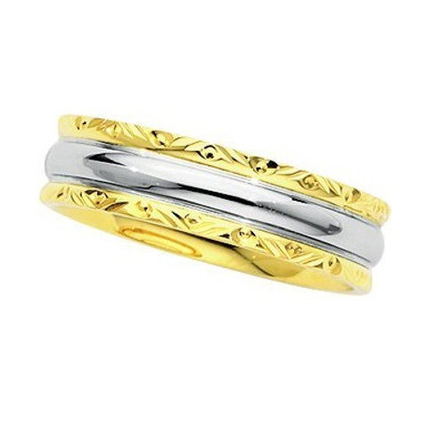 18K/Platinum Two Tone Men's Wedding Band
