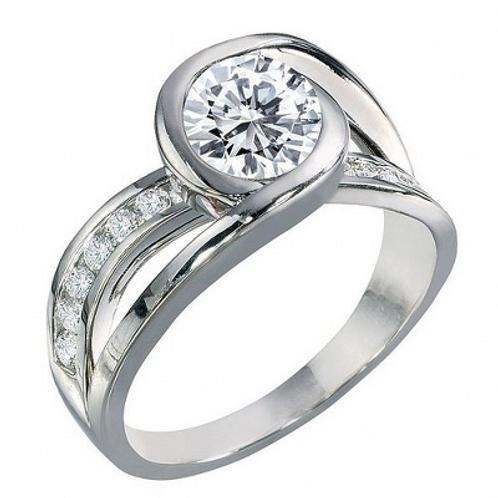 14k White Gold Bezel Twist Engagement Ring