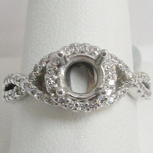 14K White Gold & Diamond Halo Engagement Ring