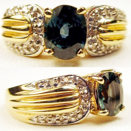 Oval Blue-Green Sapphire & Diamond Ring