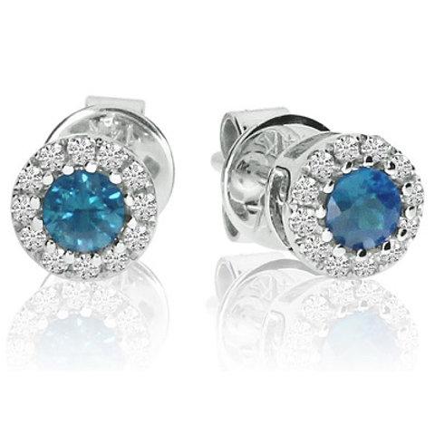 14K White Gold Round Blue Topaz and Diamond Semi Precious Fashion Earrings