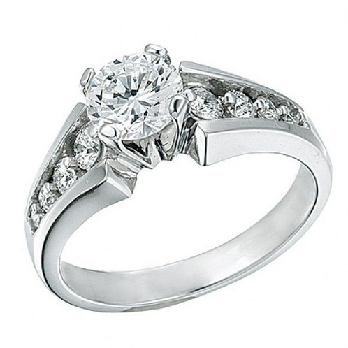 14K White Gold Modern Engagement Ring