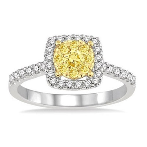 3/4 Ctw Yellow and White Diamond Lovebright Ring