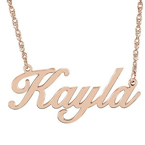 14K Script Nameplate Necklace