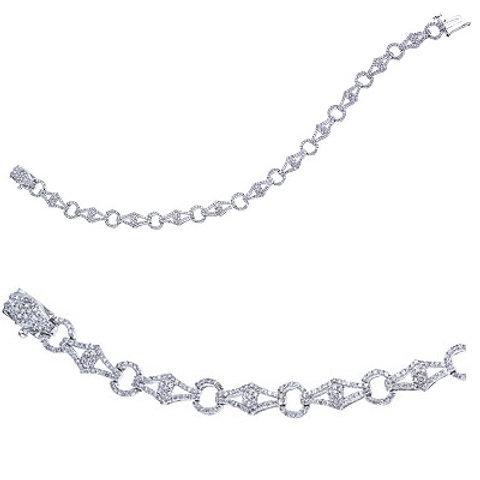 14K White Gold Diamond Flowing Fashion Bracelet