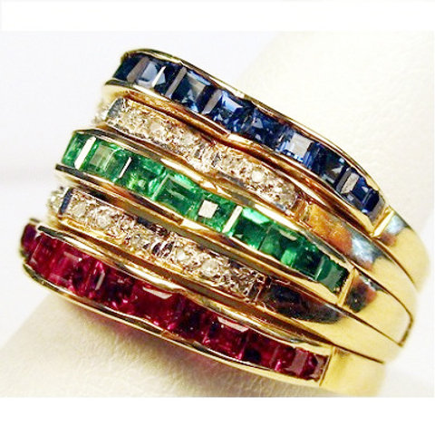 Ruby, Emerald, Sapphire & Diamond Stackable Rings
