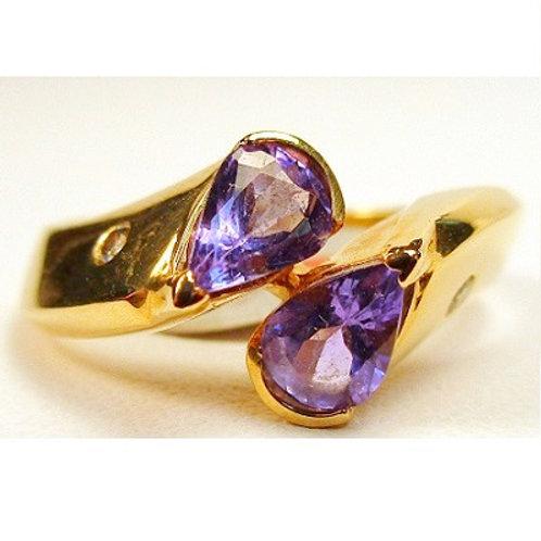 Pear Shaped Tanzanite & Diamond 2-Stone Ring