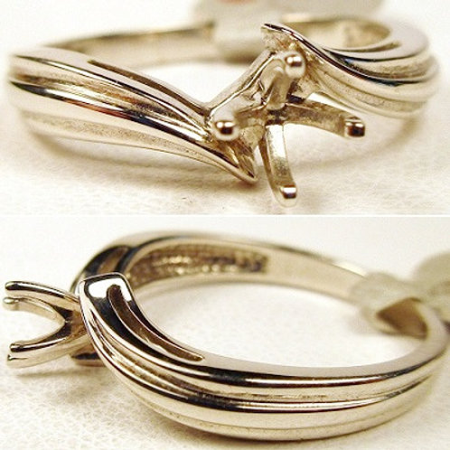 14k White Gold Bypass Solitaire