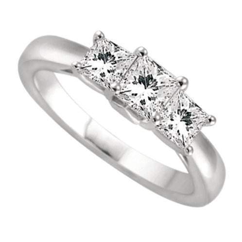 14K White Gold 3-Stone Engagement Ring