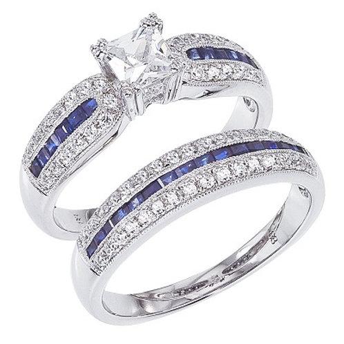 14K White Gold Qpid .70 Ct Princess Diamond and .84 Ct Princess Sapphire Bridal