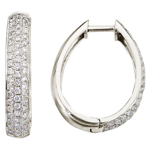 14K White Gold Pave 1ct Diamond Hoop Earrings