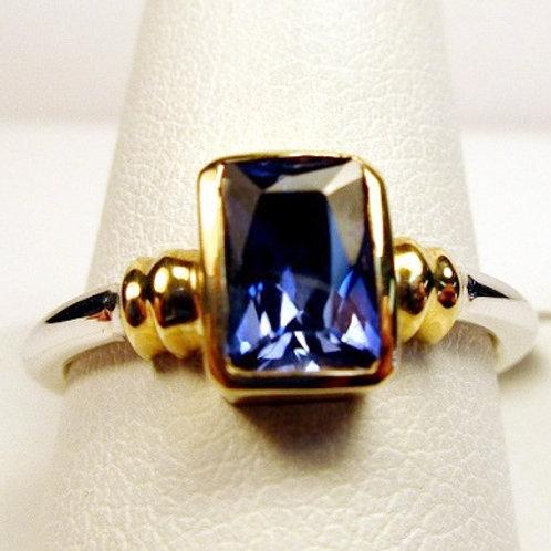 Radiant Cut Bezel Set 1ct Tanzanite Ring