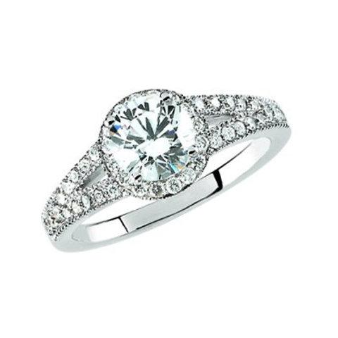 14K White Gold Semi-Mount Engagement Ring