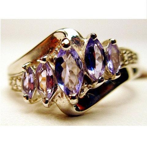 5-Stone Marquise Tanzanite & Diamond Ring