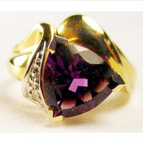 Trillion Cut Amethyst & Diamond Ring