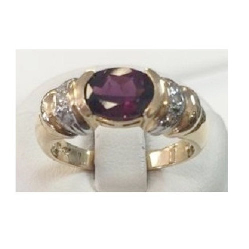 14K Two-Tone Diamond & Grape Garnet
