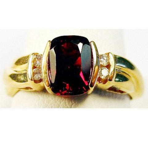 Antique Cushion Cut Garnet & Diamond Ring