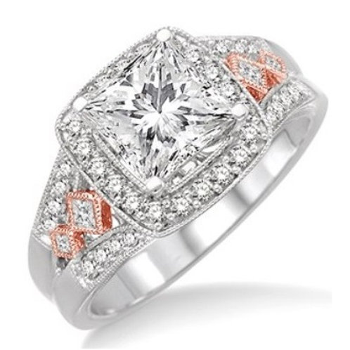 1/2 Ctw Diamond Semi-Mount Ring in White and Rose Gold