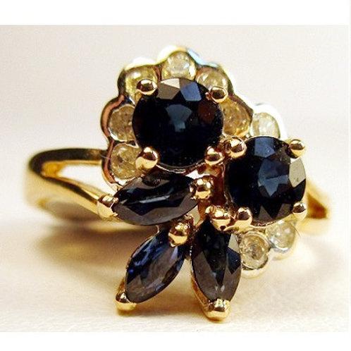 Multi Shaped Blue Sapphire & Diamond Ring