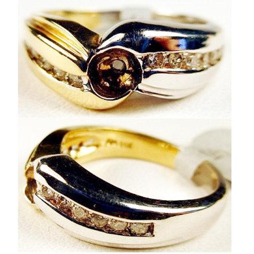 14K Two-Tone Gold & Diamond Engagement Ring Mounting