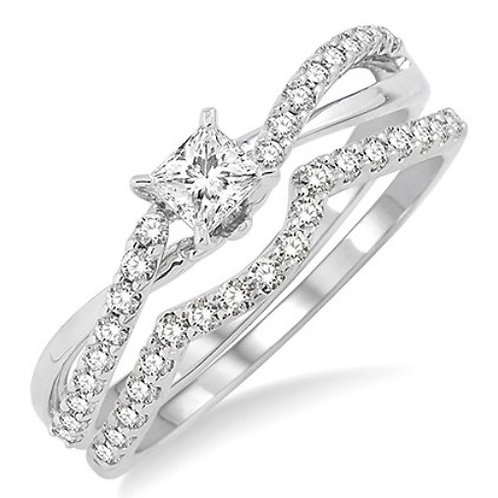 5/8 Ctw Diamond Wedding Set with 1/2 Ctw Princess Cut Engagement