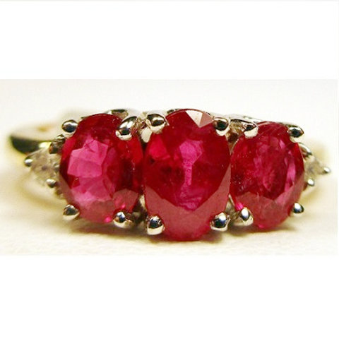 Oval Ruby 3-Stone Ring