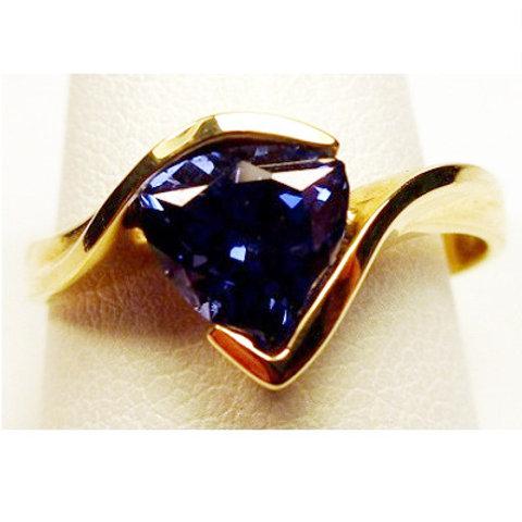 Trillion Cut Created Ceylon Sapphire Ring