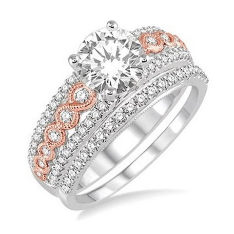 1 1/10 Ctw Diamond Wedding Set in White and Rose Gold